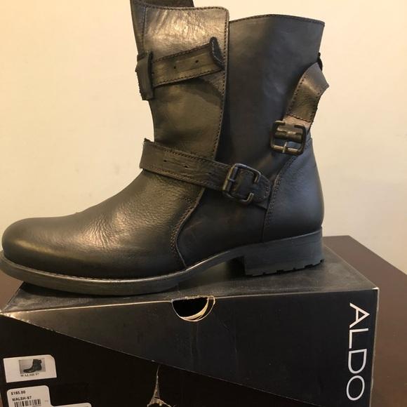 Also Black Leather Mens Biker Boot